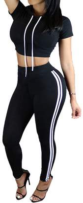 Dafina Specialties Women's Solid Colors Side 2-Stripes Yoga Leggings Athletic Pants