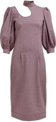 Ganni Striped Cotton Blend Seersucker Midi Dress - Womens - Pink