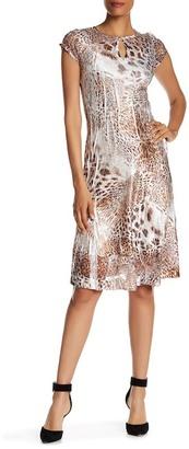 KOMAROV Multi-Print Keyhole Cap Sleeve Dress $278 thestylecure.com