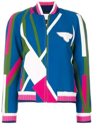 Pardens geometric print bomber jacket
