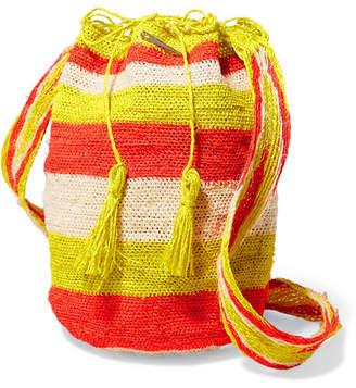 Muzungu Sisters - Rainbow Flique Striped Woven Straw Shoulder Bag - Orange
