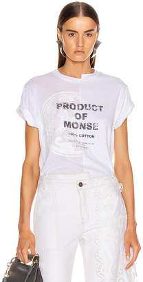 Monse Split Louise Lace Printed Tee in White | FWRD