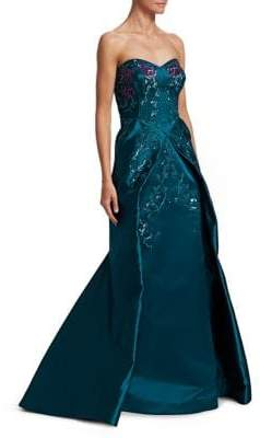 Zac Posen Floral Sequin Embroidered Gown