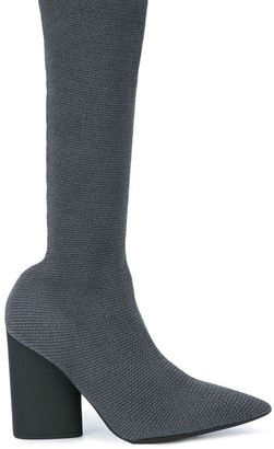 Yeezy knitted chunky heel boots