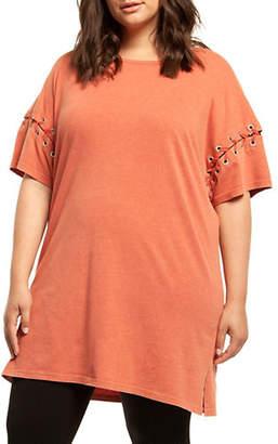Dex Plus Lace-Up Short Sleeve Tunic