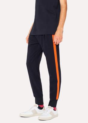 Paul Smith Men's Dark Navy Wool-Blend Pants With Orange Stripe Detail