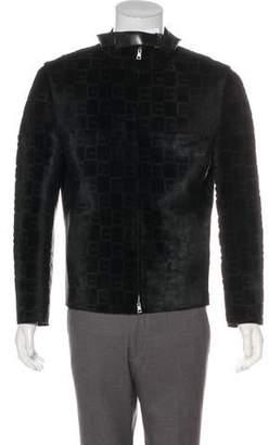 Gucci Calf Hair-Paneled G Logo Leather Jacket