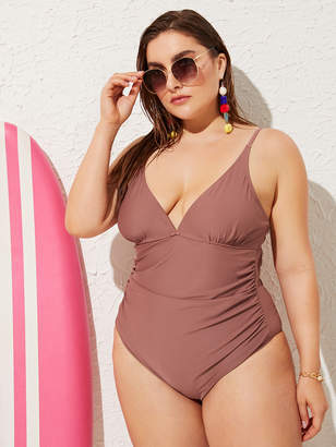 401914875b04 Shein Plus Ruched Cut-out Back One Piece Swimsuit