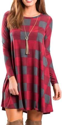 BEIGE Boosouly Ladies Three Quarter Sleeve Tartan Print Long Tops Mini Dress T Shirt Dress M