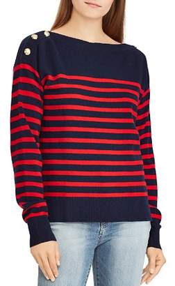 Ralph Lauren Striped Cashmere Button-Shoulder Sweater - 100% Exclusive