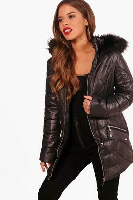 boohoo Petite Ellie Padded Drawstring Faux Fur Hooded Coat