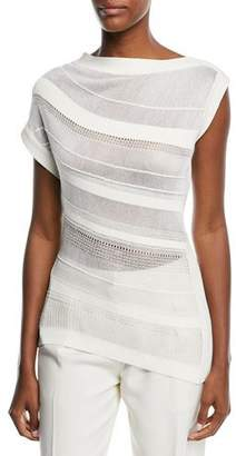 Narciso Rodriguez Asymmetric Stripe Boat-Neck Knit Top