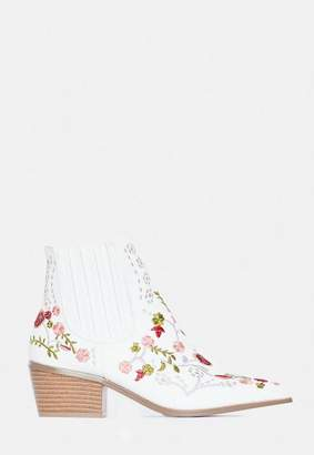 Missguided White Floral Embroidered Western Boots