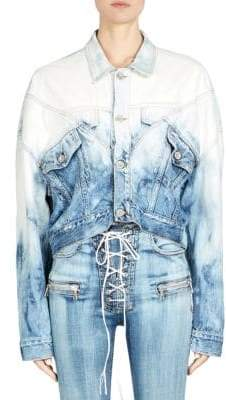 Taverniti So Ben Unravel Project Lines Hybrid Cropped Denim Jacket