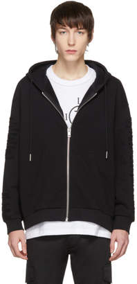 Diesel Black Distressed S-Stitch Zip Hoodie