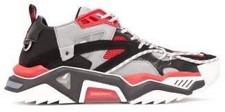 Calvin Klein Strike 205 Leather And Mesh Trainers - Mens - Red