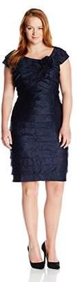 London Times Women's Cap Sleeve Sheath Dress w. Flower Detail and Portrait Collar