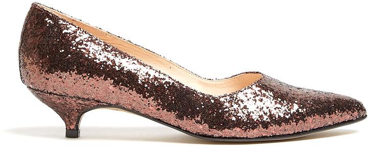 Ganni Cordovan Glitter Sonia Kitten Heels