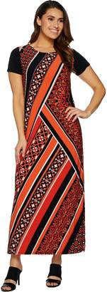 Bob Mackie Bob Mackie's Short Sleeve Printed Knit Maxi Dress with Side Slits