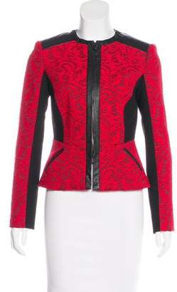 Magaschoni Leather-Trimmed Lace Jacket