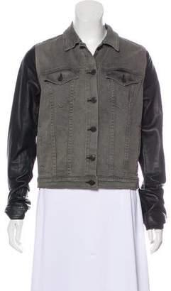 Rag & Bone Leather-Accented Denim Jacket