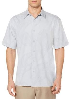 Cafe Luna Men's All Over Tropical Print Short Sleeve Sport Shirt