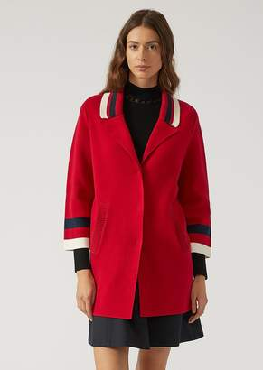 Emporio Armani Knit Coat With Contrast Details
