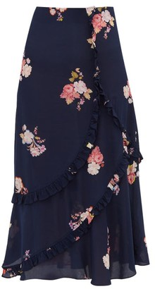 7b6c62bfe2 Preen Line Nevah Floral Print Ruffled Midi Skirt - Womens - Navy Multi