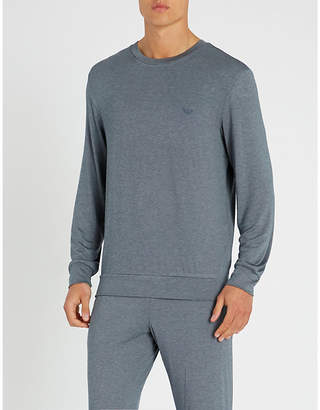 0beef566ad1 Emporio Armani Dot-patterned modal-blend sweatshirt