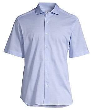 Corneliani Men's Pique Cotton Short Sleeve Sport Shirt