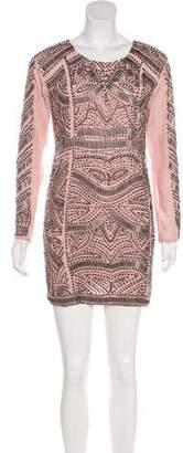 Karina Grimaldi Embellished Silk Mini Dress