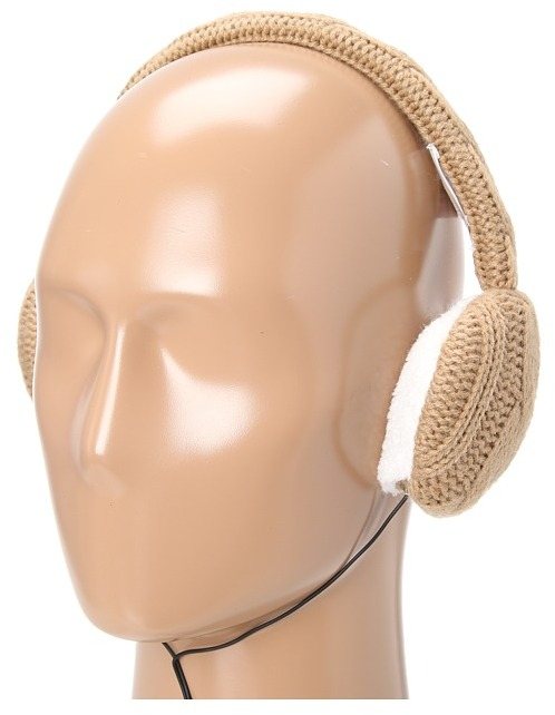 MICHAEL Michael Kors Michael Kors 2X2 Cable Earmuff W/Removable Headphones (Camel) - Hats