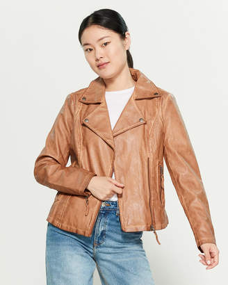 Max Studio Faux Leather Asymmetrical Zip Jacket