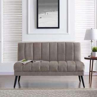 Harmon Homesvale Mid Century Modern Armless Loveseat in Mink Gray Velvet