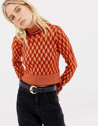 Asos DESIGN skinny roll neck sweater in retro pattern