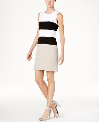 Calvin Klein Striped A-Line Dress $134 thestylecure.com