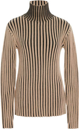 Victoria Victoria Beckham Striped Rib-Knit Wool Turtleneck Sweater