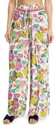 Trina Turk Key West Botanical Split-Leg Wrap Pants
