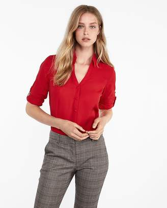 Express Petite Slim Fit Covered Button Portofino Shirt