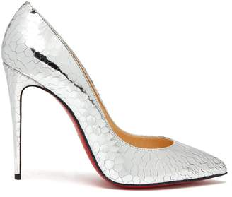 Christian Louboutin Pigalle 100 metallic cracked-leather pumps