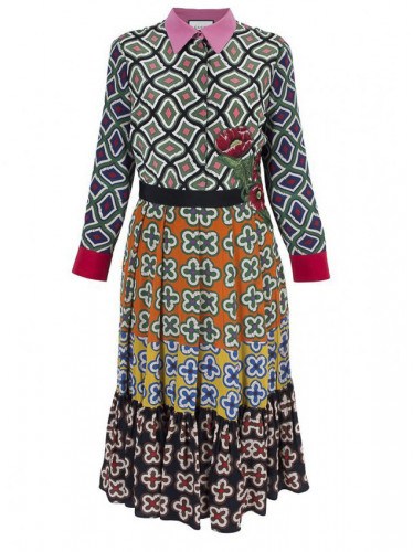 Gucci Gucci Patterned Pleated Dress