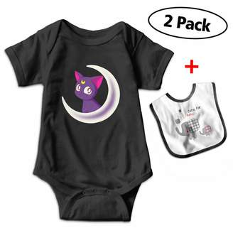 Fillmore-M Sailor Moon Short Sleeve Romper Bodysuit for 3-24 Months Infant with Baby Bibs
