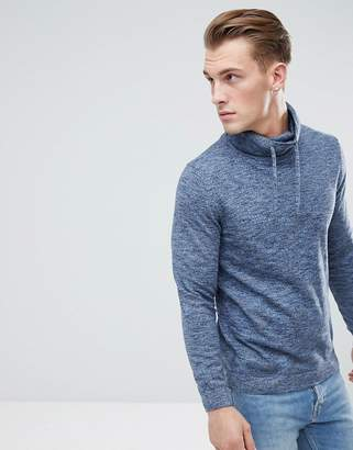 Esprit Funnel Neck Jumper In Blue Marl