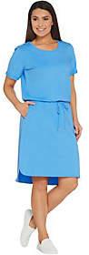 Denim & Co. French Terry Short-Sleeve Dress w/Cutout Back