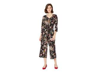 ECI 3/4 Sleeve V-Neck Floral Printed Stretch Crepe Jumpsuit Women's Jumpsuit & Rompers One Piece