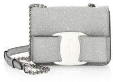 Salvatore Ferragamo Mini Vara Silver Rainbow Glitter Bag