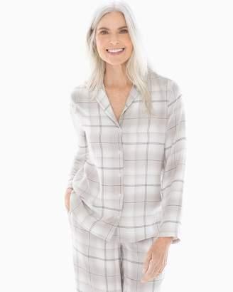 Light Nights Long Sleeve Notch Collar Pajama Top Festive Plaid Opal fec1b1f5a