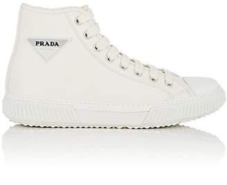 Prada Men's Logo-Appliquéd Leather Sneakers - White