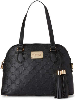 Bebe Black Alana Embossed Dome Satchel