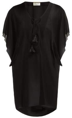 Saint Laurent Laced Crepe Mini Dress - Womens - Black